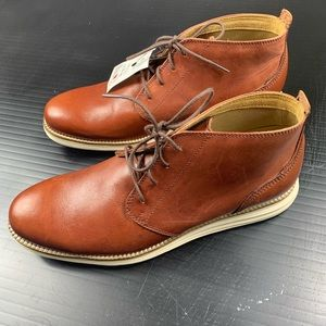 COLE HAAN GRAND.OS Leather Chukka Boots Sz 9 Brown